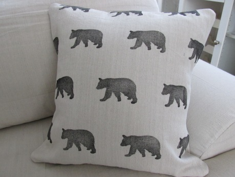 Throw pillow cover prototype in the bear pattern